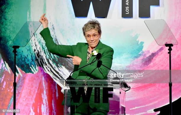 Frances McDormand speaks onstage during the Women In Film 2018 Crystal Lucy Awards presented by Max Mara Lancôme and Lexus at The Beverly Hilton...