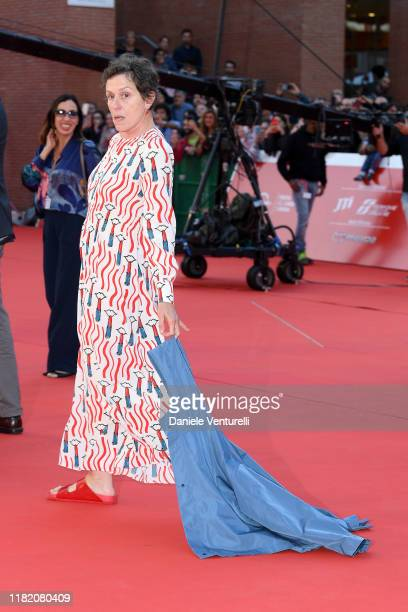 Frances McDormand walks a red carpet during the 14th Rome Film Festival on October 19 2019 in Rome Italy