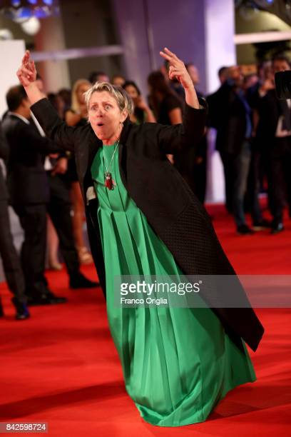 Frances McDormand walks the red carpet ahead of the 'Three Billboards Outside Ebbing Missouri' screening during the 74th Venice Film Festival at Sala...