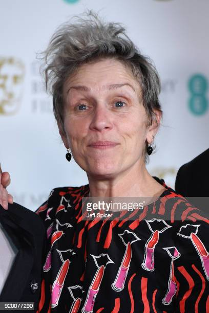Frances McDormand winner of the Best Actress award poses in the press room during the EE British Academy Film Awards held at Royal Albert Hall on...