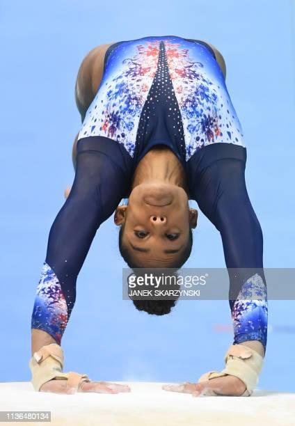 France's Melanie De Jesus Dos Santos performs a vault during the Women's AllAround final during the Artistic Gymnastics Championships in Szczecin...