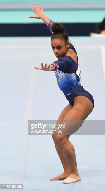 France's Melanie De Jesus Dos Santos performs during floor exercises at the Women's AllAround final during the Artistic Gymnastics Championships in...