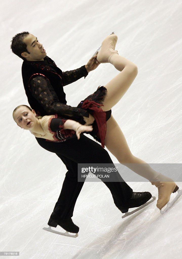 France's Melodie Chataigner et Medhi Bouzzine perform their free skating program at the Dom Sportova Arena in Zagreb, 23 January 2008, during the European Figure Skating Championships 2008.