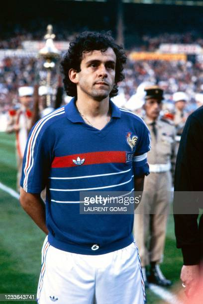 France's Michel Platini poses before a friendly match between France and Scotland on June 1, 1984 in Marseille. -