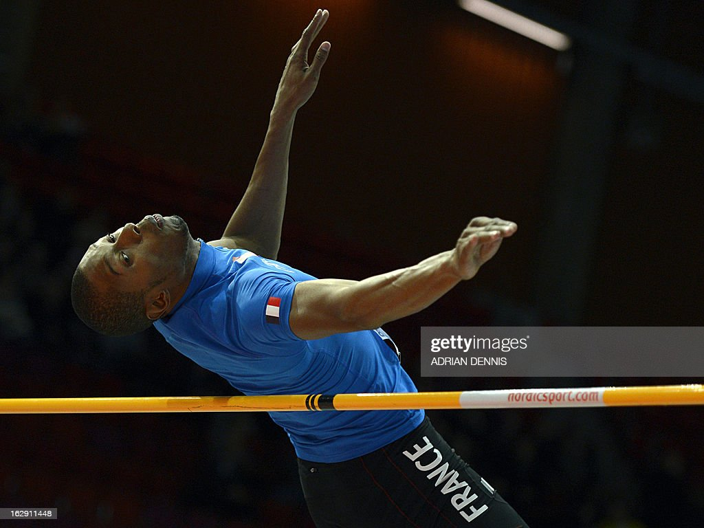 France's Mickael Hanany competes during the High Jump Men Group A Qualification event at the European Indoor Championships in Gothenburg, Sweden, on March 1, 2013.