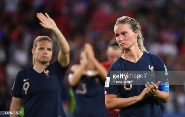 TOPSHOT France's midfielder Amandine Henry leaves the pitch at the end the France 2019 Women's World Cup quarterfinal football match between France...