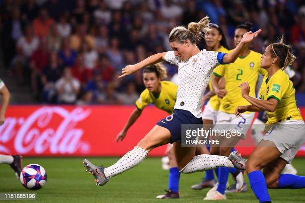 TOPSHOT France's midfielder Amandine Henry scores a goal during the France 2019 Women's World Cup round of sixteen football match between France and...