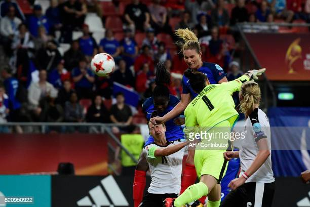 France's midfielder Amandine Henry scores during the UEFA Women's Euro 2017 football tournament between France and Austria at the Galgenwaard Stadium...