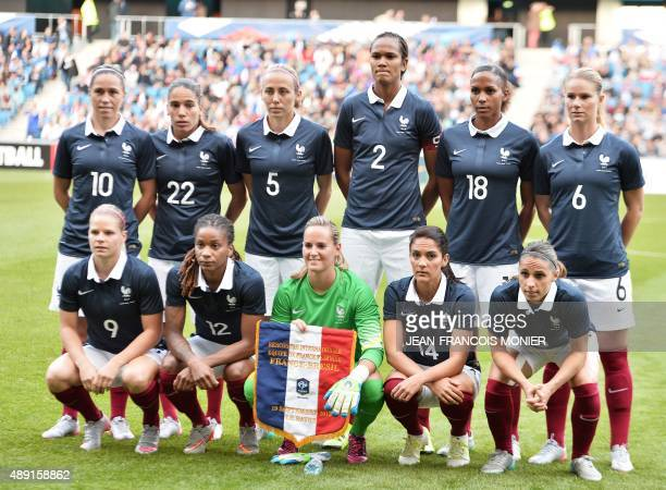 France's midfielder Camille Abily France's defender Amel Majri France's defender Sabrina Delannoy France's defender Wendie Renard France's forward...