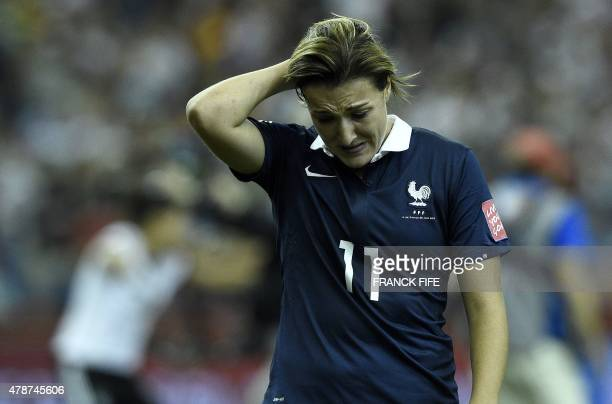 France's midfielder Claire Lavogez reacts to a missed goal during the quarter-final football match between Germany and France during their 2015 FIFA...
