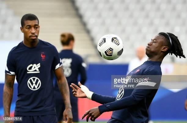France's midfielder Eduardo Camavinga warms up ahead of the UEFA Nations League Group C football match between France and Croatia on September 8 2020...