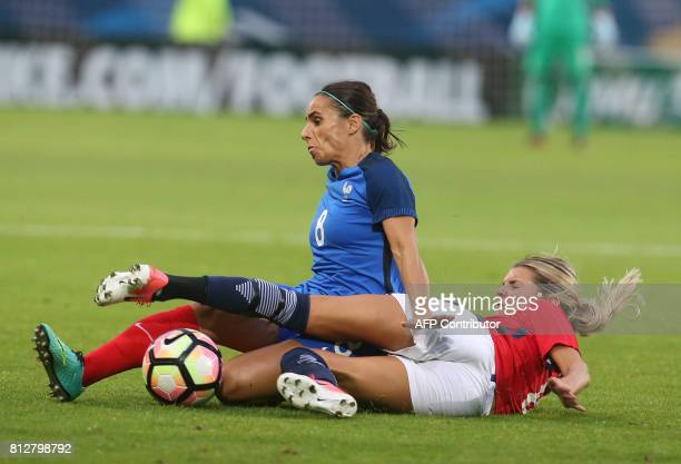 France's midfielder Jessica Houarad'Hommeaux vies with Norway's midfielder Andrine Hegerberg during the women's friendly football match between...