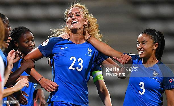France's midfielder Kheira Hamraoui celebrates after scoring a goal during the Women Euro 2017 qualifying football match France vs Albania at the...
