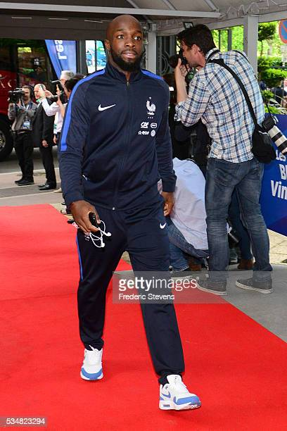 France's midfielder Lassana Diarra arrives at Vincennes racetrack ahead of the Euro 2016 European football championships on May 27 2016 in Vincennes...