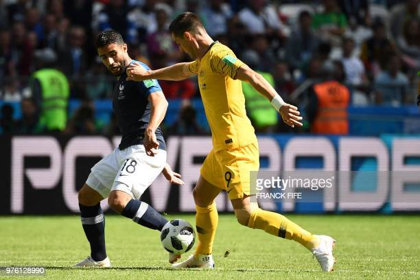France's midfielder Nabil Fekir vies with Australia's forward Tomi Juric during the Russia 2018 World Cup Group C football match between France and...