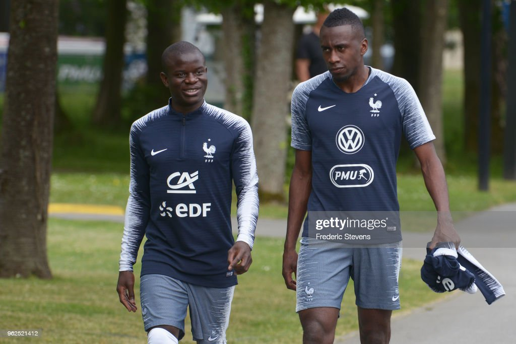 France's midfielder N'golo Kante and Blaise Matuidi arrive a training session at the French national football team centre in Clairefontaine-en-Yvelines on May 25, 2018 in Clairefontaine, France. The French national football team begin their preparation for the upcoming FIFA 2018 World Cup in Russia.