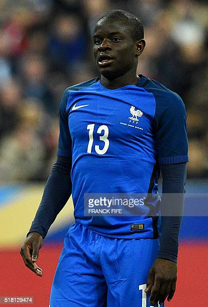 France's midfielder N'Golo Kante reacts during the international friendly football match between France and Russia at the Stade de France in...