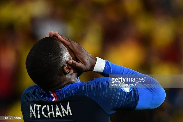 France's midfielder Olivier Ntcham reacts during the Group C match of the U21 European Football Championships between France and Romania on June 24...