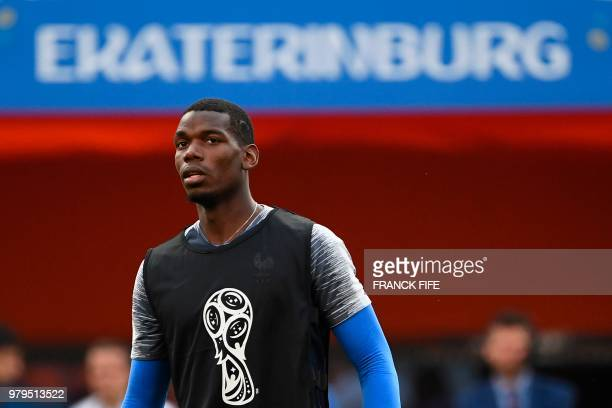 France's midfielder Paul Pogba attends a training session at the Ekaterinburg Arena in Ekaterinburg on June 20 2018 on the eve of the Russia 2018...