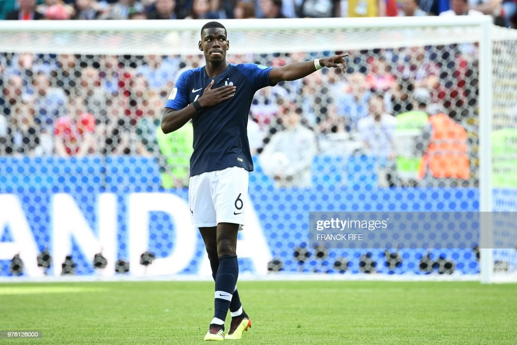 TOPSHOT - France's midfielder Paul Pogba celebrates a goal during the Russia 2018 World Cup Group C football match between France and Australia at the Kazan Arena in Kazan on June 16, 2018. (Photo by FRANCK FIFE / AFP) / RESTRICTED