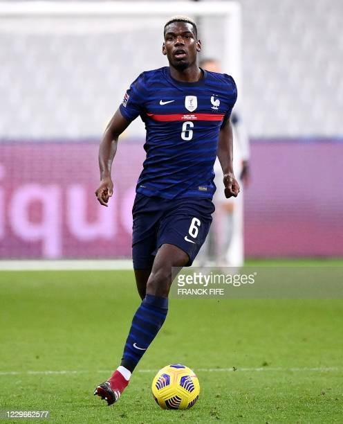 France's midfielder Paul Pogba controls the ball during the UEFA Nations League A group 3 football match between France and Sweden at the Stade de...