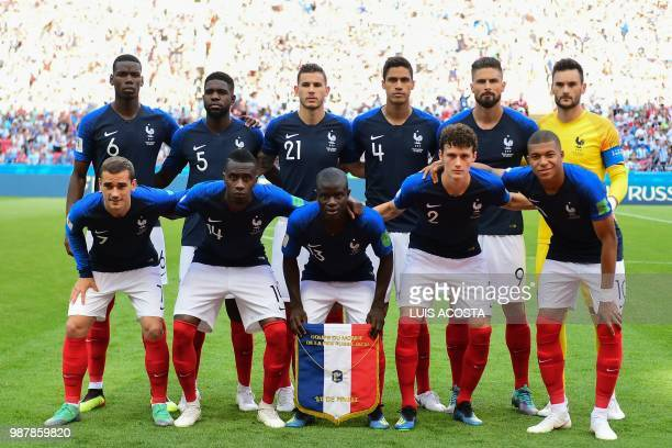 France's midfielder Paul Pogba France's defender Samuel Umtiti France's defender Lucas Hernandez France's defender Raphael Varane France's forward...