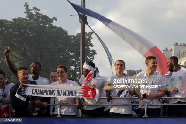 France's midfielder Paul Pogba France's forward Florian Thauvin France's forward Ousmane Dembele France's forward Antoine Griezmann France's defender...