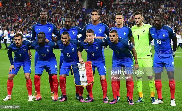 France's midfielder Paul Pogba midfielder Blaise Matuidi defender Raphael Varane defender Laurent Koscielny goalkeeper Hugo Lloris midfielder Moussa...