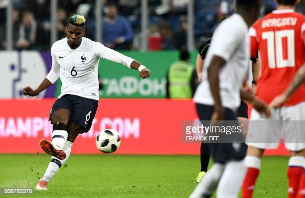 TOPSHOT France's midfielder Paul Pogba scores the team's second goal during an international friendly football match between Russia and France at the...