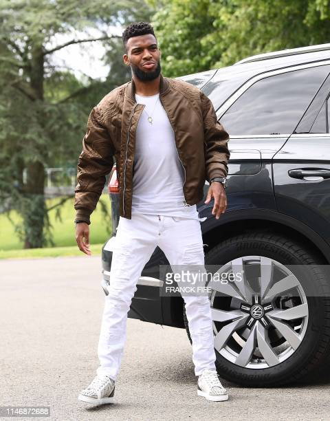 France's midfielder Thomas Lemar arrives at the French national football team training base in ClairefontaineenYvelines on May 29 2019 as part of the...