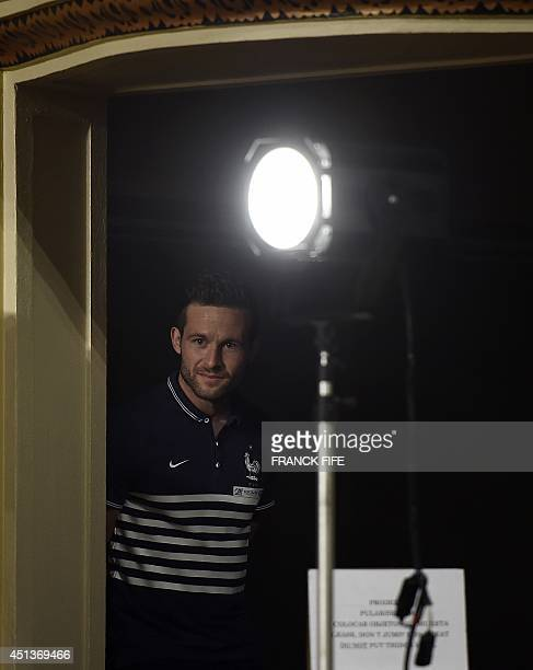 France's midfielder Yohan Cabaye is pictured before a press conference at the theater in Ribeirao Preto on June 28 during the 2014 FIFA World Cup...
