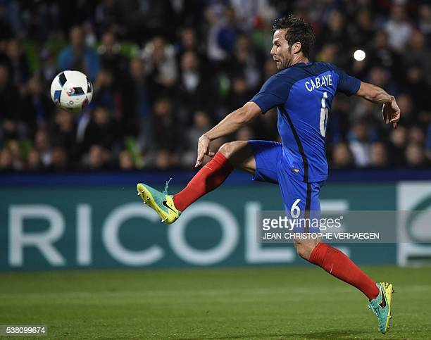 France's midfielder Yohan Cabaye kicks the ball during the friendly football match France vs Scotland at the St Symphorien Stadium in...