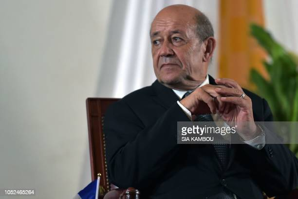 France's Minister for Foreign Affairs JeanYves Le Drian looks on during an event dubbed FrenchIvorian Hub for Education at the National Polytechnic...