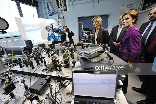 France's Minister for Higher Education and Research Valerie Pecresse and France's Junior Minister for Ecology Chantal Jouanno visit the Dynamic...