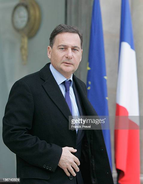 France's Minister for Industry Energy and Digital Economy Eric Besson leaves the weekly cabinet meeting at Elysee Palace on January 11 2012 in Paris...
