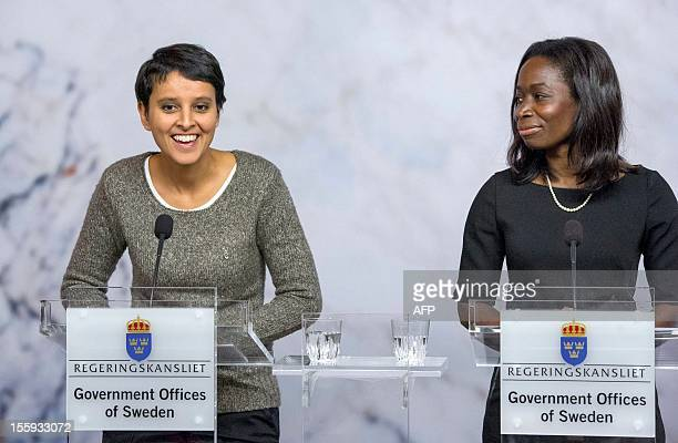 France's Minister for Women's Rights Najat VallaudBelkacem speaks during a joint press conference with her Swedish counterpart Nyamko Sabuni at the...