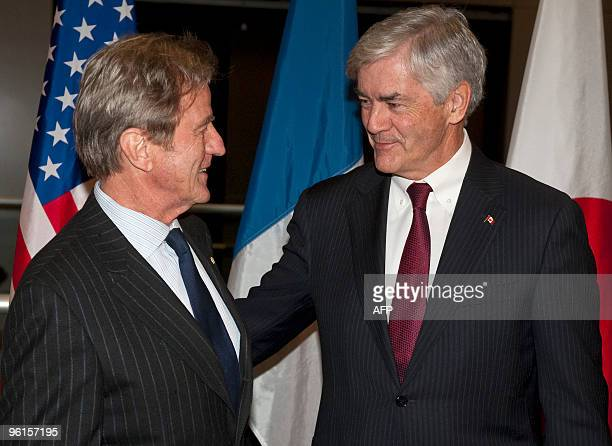 France's minister of foreign and european affairs Bernard Kouchner and Canada's minister of foreign affairs Lawrence Cannon greet on e another as...