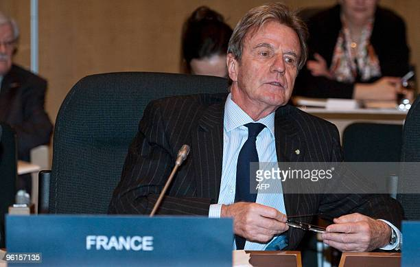 France's Minister of Foreign and European Affairs Bernard Kouchner attends the Haiti Ministerial preparatory conference held at the International...