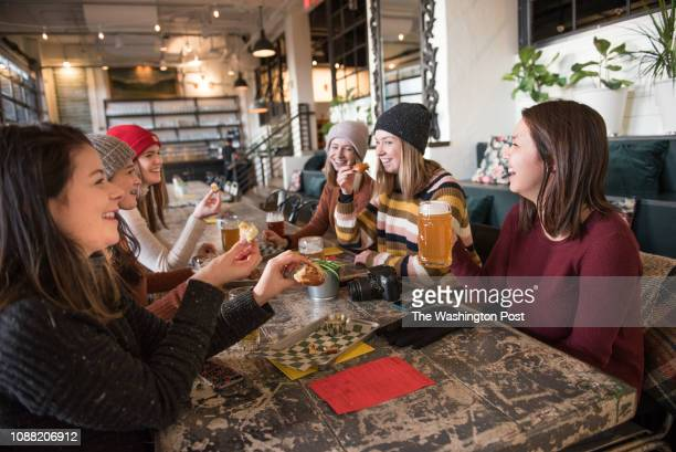 Frances MylodVargas Alice MylodVargas Kellen Dickinson with Helen Mylodyee Lacey Dickinson Brenna Dickinson enjoying beer and pretzels at The...
