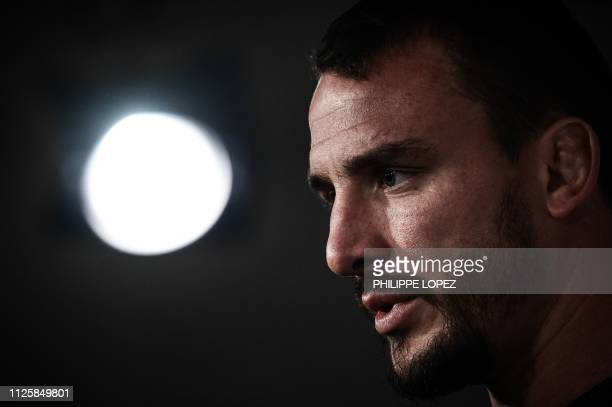 Frances N°8 Louis Picamoles speaks during a press conference on February 19 2019 in Marcoussis southern Paris ahead of their Six nations Nations...