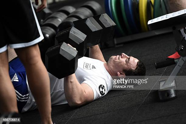 France's N°8 Louis Picamoles trains indoors in Marcoussis, south of Paris, on March 18, 2015 ahead of the Six Nations rugby union match between...