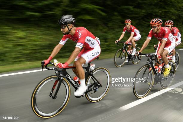 France's Nacer Bouhanni rides ahead of his teammates of the France's Cofidis cycling team during the 178 km tenth stage of the 104th edition of the...