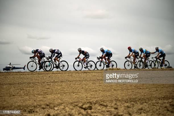 France's Nans Peters, France's Quentin Pacher, France's Kenny Elissonde, Belgium's Jasper Stuyven, Belgium's Tim Wellens and Belgium's Wout van Aert...