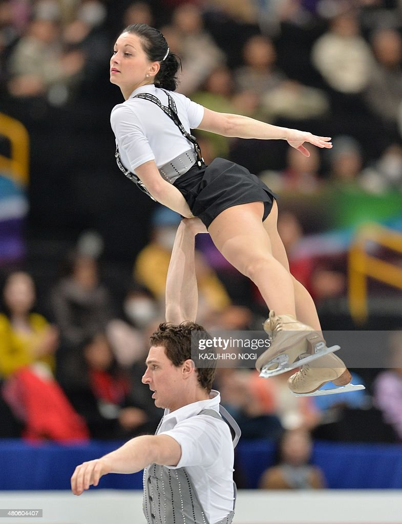France's Nathalie Pechalat and Fabian Bourzat perform during the pairs short program at the world figure skating championships in Saitama, on March 26, 2014.