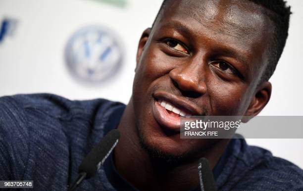 France's national football team defender Benjamin Mendy attends a press conference at the team's training camp in ClairefontaineenYvelines on May 30...