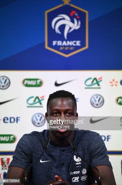 France's national football team defender Benjamin Mendy attends a press conference at the team's training camp in Clairefontaine-en-Yvelines on May...