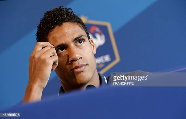 France's national football team defender Raphael Varane attends a press conference in EnghienlesBains on September 5 two days ahead of the team's...