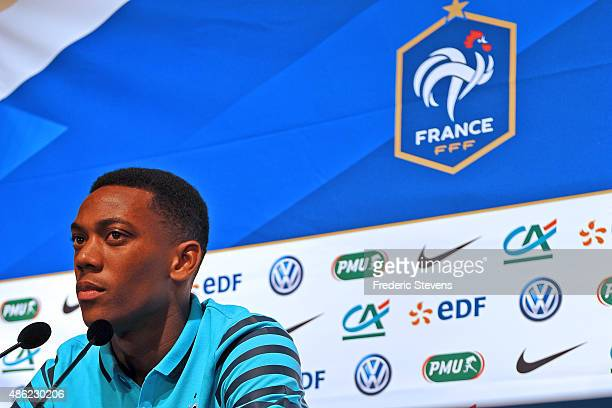 France's national football team forward Anthony Martial gives a press conference on September 2 2015 in Clairefontaine France Two days ahead of the...