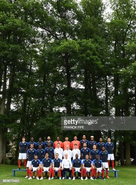 France's national football team France's defender Benjamin Pavard France's defender Benjamin Mendy France's defender Samuel Umtiti France's defender...