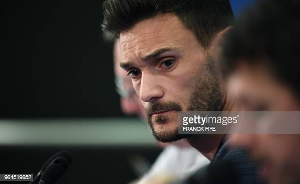 France's national football team goalkeaper Hugo Lloris attends a press conference at the Allianz Rivieira stadium in Nice on May 31 on the eve of an...